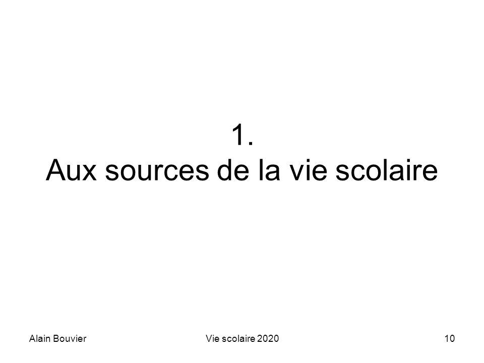 Alain BouvierVie scolaire 202010 1. Aux sources de la vie scolaire
