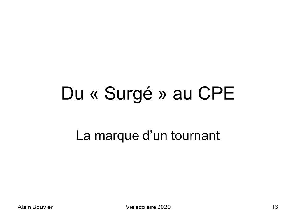 Alain BouvierVie scolaire 202013 Du « Surgé » au CPE La marque dun tournant