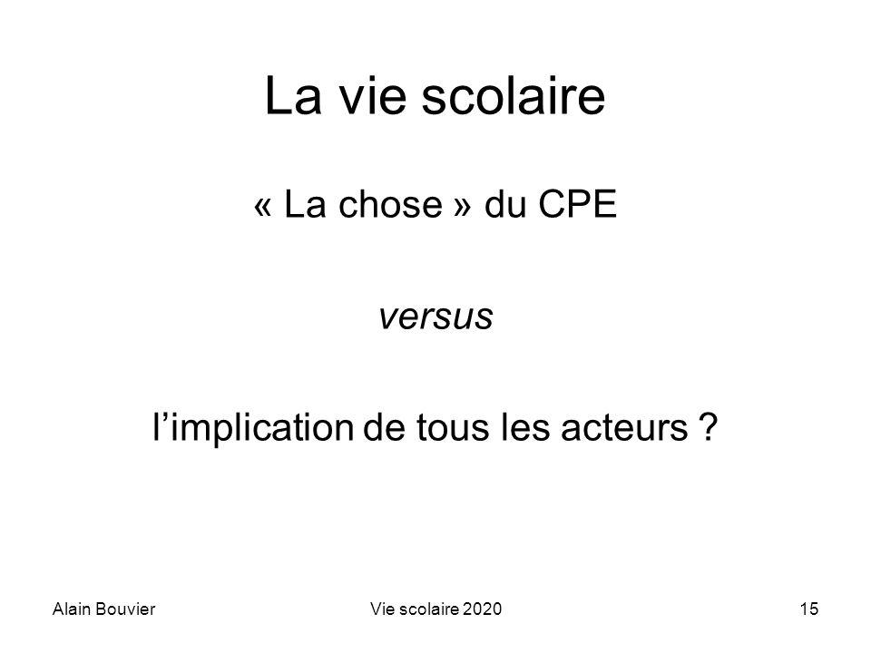 Alain BouvierVie scolaire 202015 La vie scolaire « La chose » du CPE versus limplication de tous les acteurs ?