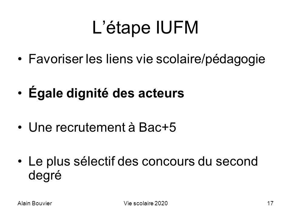 Alain BouvierVie scolaire 202017 Létape IUFM Favoriser les liens vie scolaire/pédagogie Égale dignité des acteurs Une recrutement à Bac+5 Le plus séle