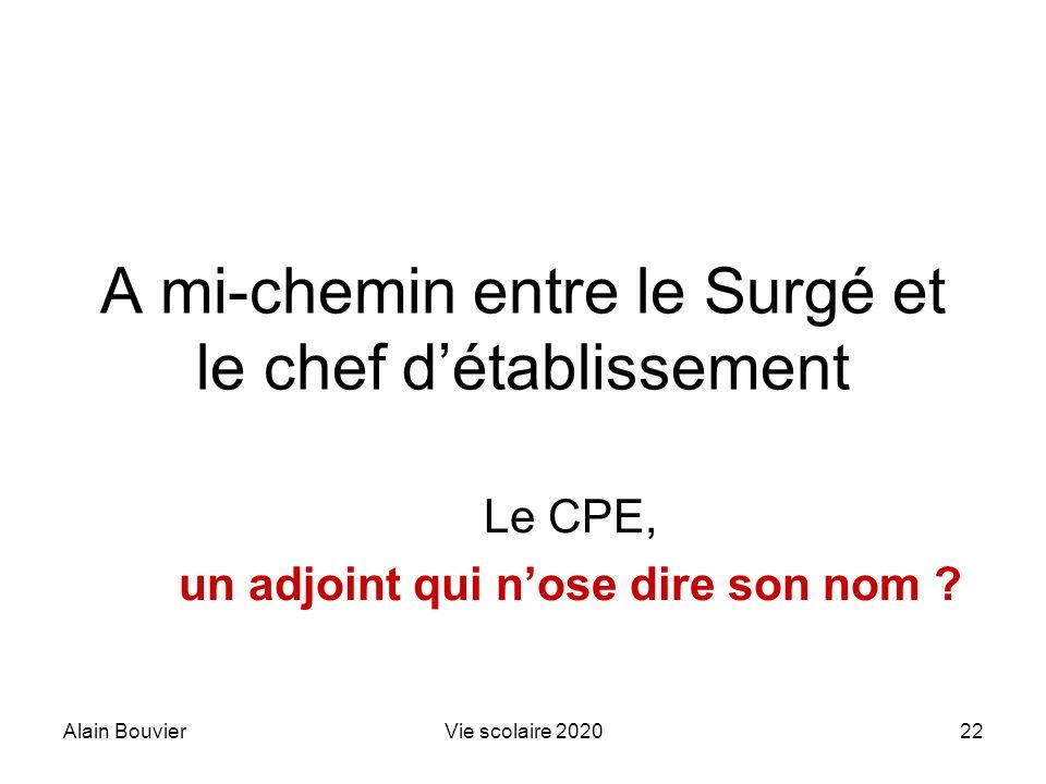 Alain BouvierVie scolaire 202022 A mi-chemin entre le Surgé et le chef détablissement Le CPE, un adjoint qui nose dire son nom ?