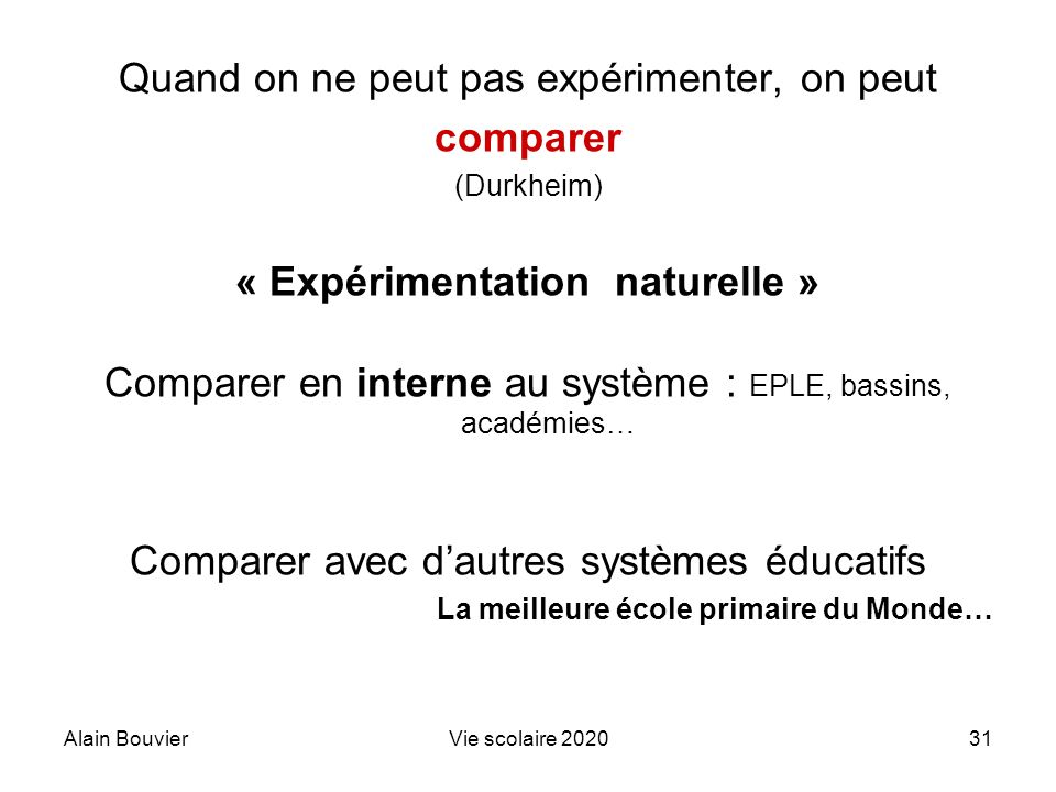 Alain BouvierVie scolaire 202031 Quand on ne peut pas expérimenter, on peut comparer (Durkheim) « Expérimentation naturelle » Comparer en interne au s
