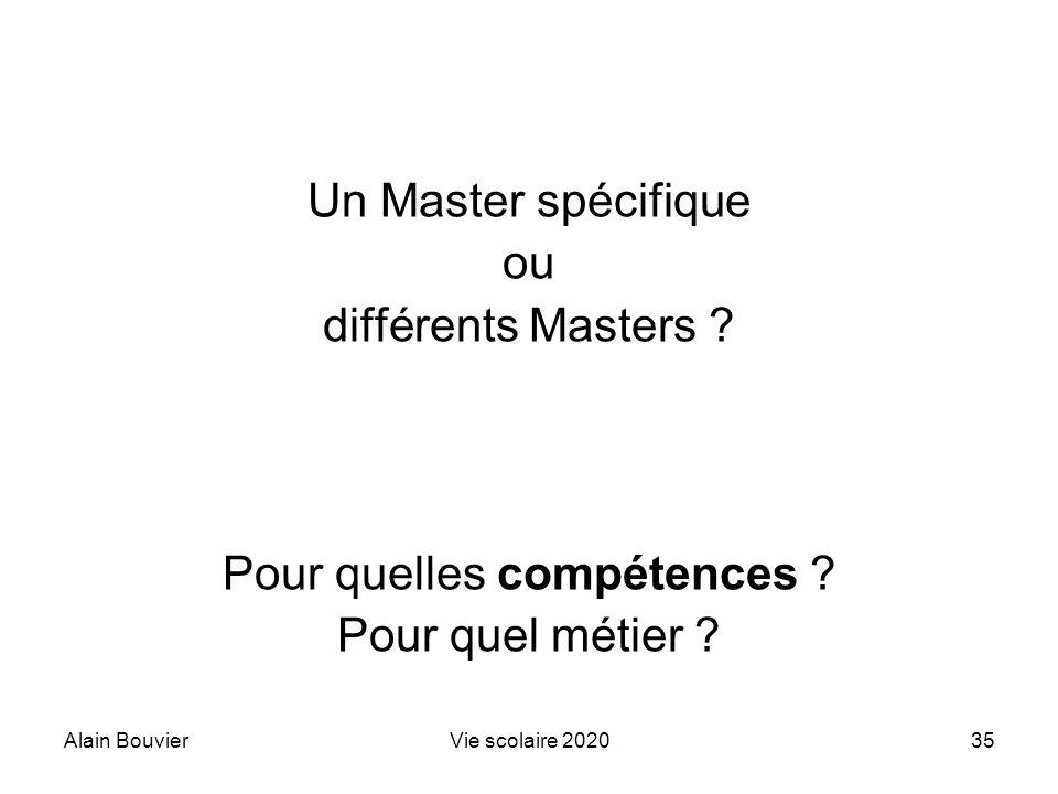 Alain BouvierVie scolaire 202035 Un Master spécifique ou différents Masters ? Pour quelles compétences ? Pour quel métier ?