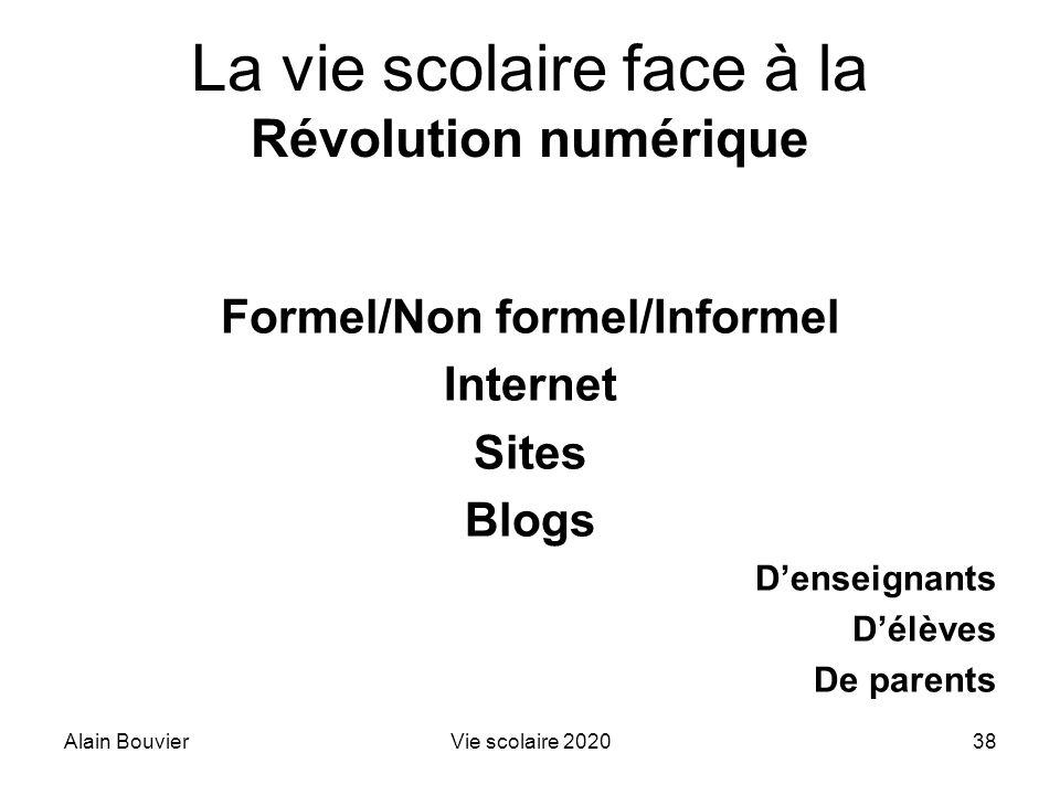 Alain BouvierVie scolaire 202038 La vie scolaire face à la Révolution numérique Formel/Non formel/Informel Internet Sites Blogs Denseignants Délèves D
