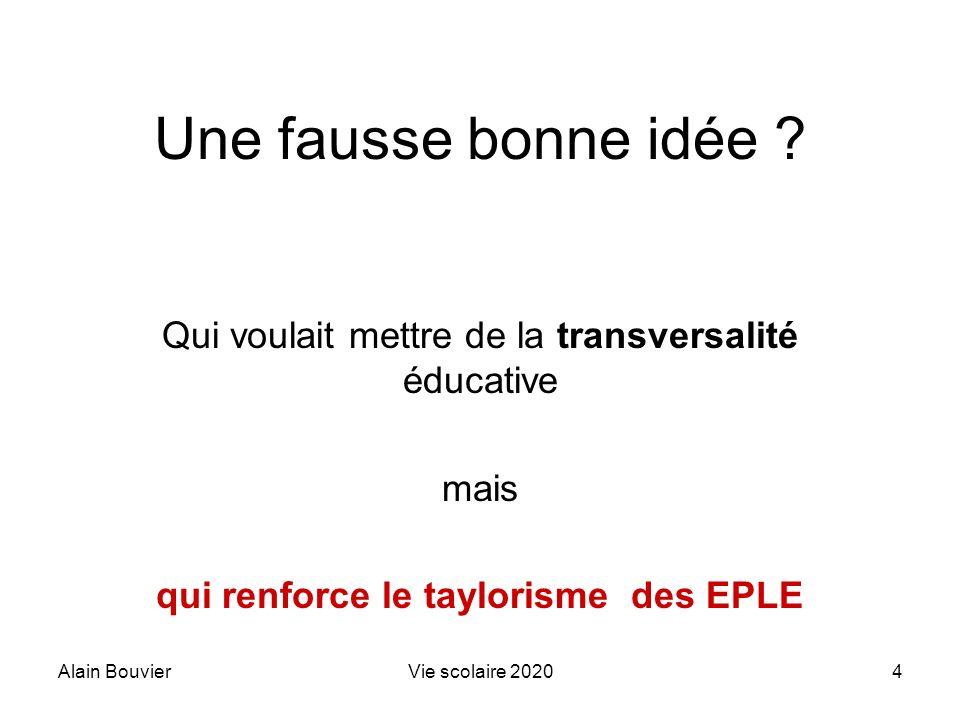 Alain BouvierVie scolaire 20204 Une fausse bonne idée ? Qui voulait mettre de la transversalité éducative mais qui renforce le taylorisme des EPLE