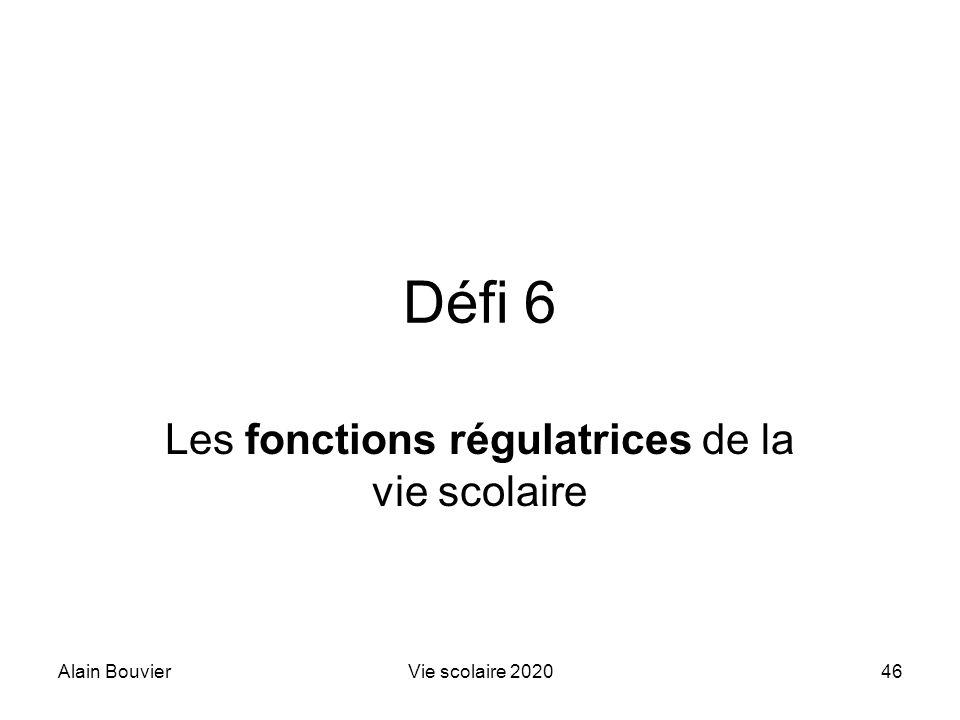 Alain BouvierVie scolaire 202046 Défi 6 Les fonctions régulatrices de la vie scolaire