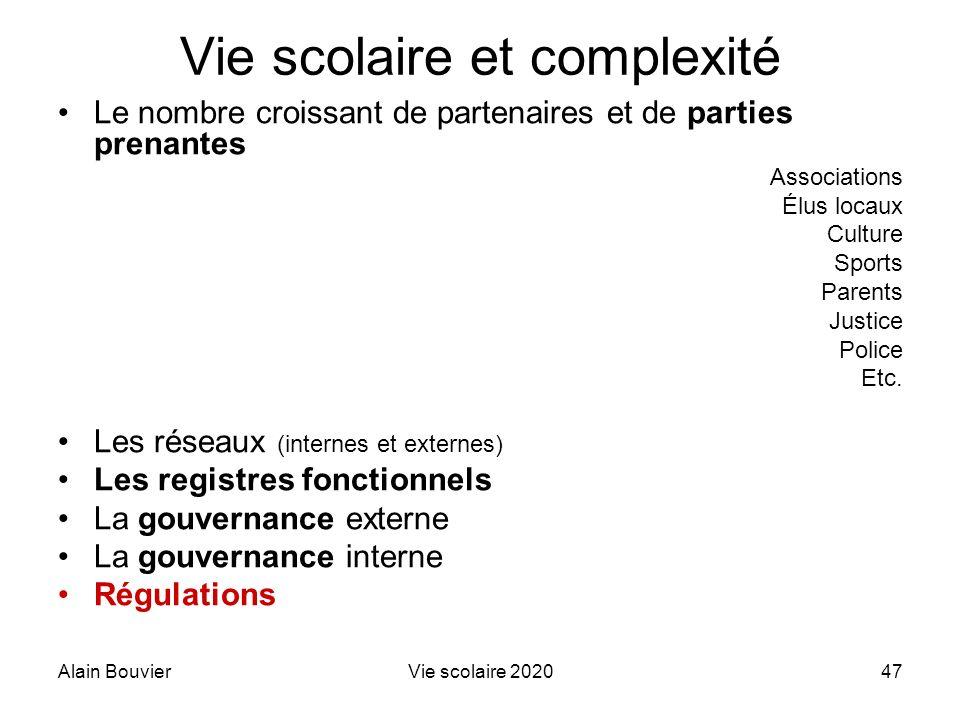 Alain BouvierVie scolaire 202047 Vie scolaire et complexité Le nombre croissant de partenaires et de parties prenantes Associations Élus locaux Cultur