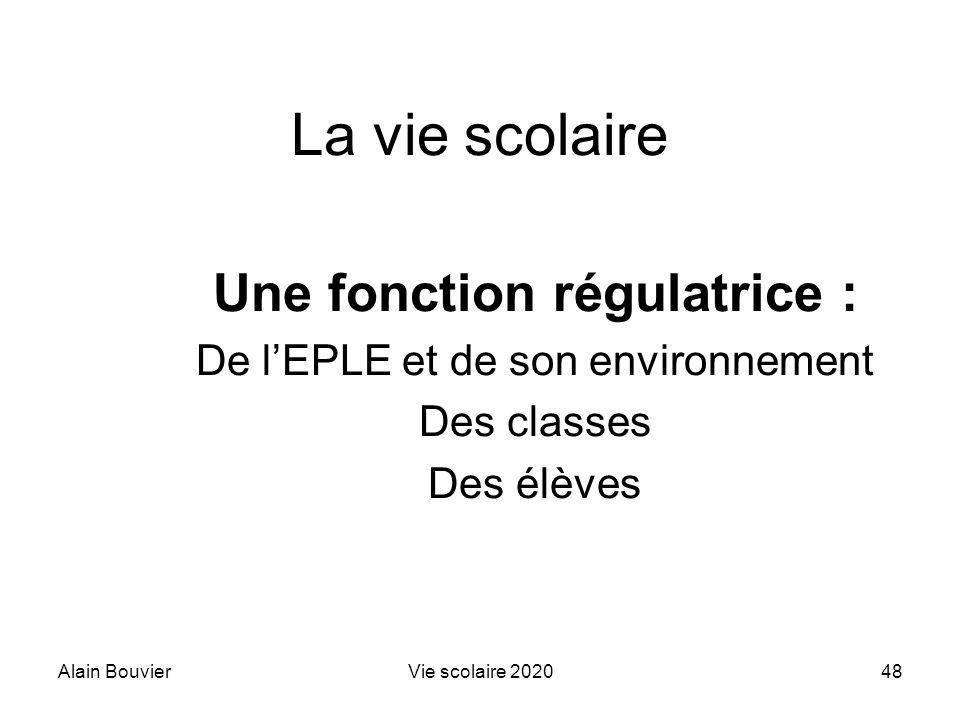 Alain BouvierVie scolaire 202048 La vie scolaire Une fonction régulatrice : De lEPLE et de son environnement Des classes Des élèves