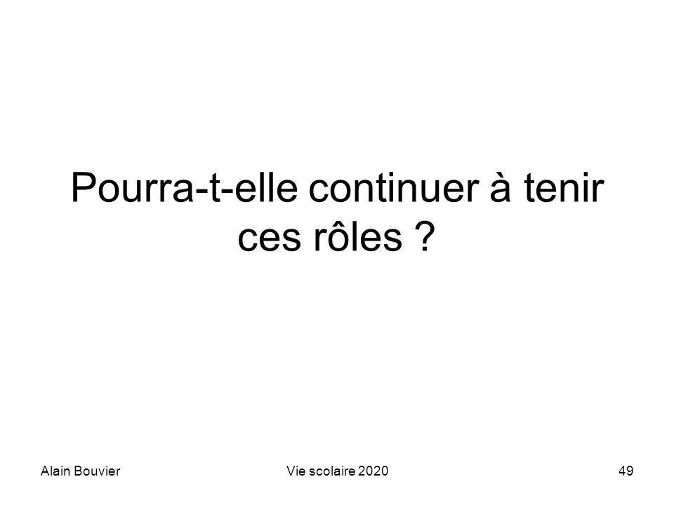Alain BouvierVie scolaire 202049 Pourra-t-elle continuer à tenir ces rôles ?