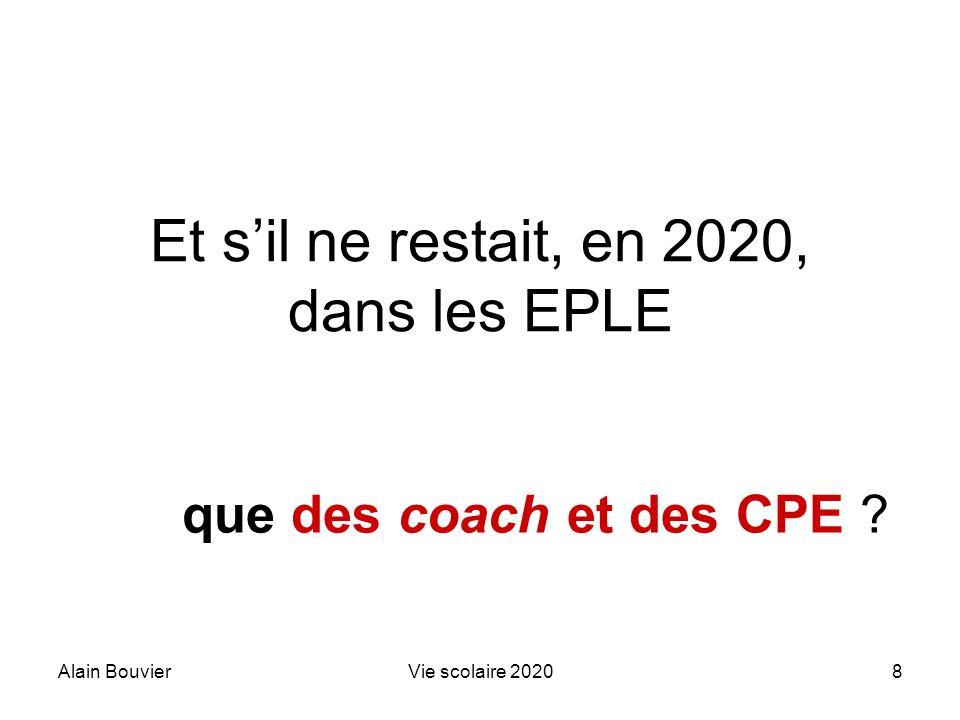 Alain BouvierVie scolaire 202029 Où situer le CPE ? Aujourdhui ? En 2020 ?