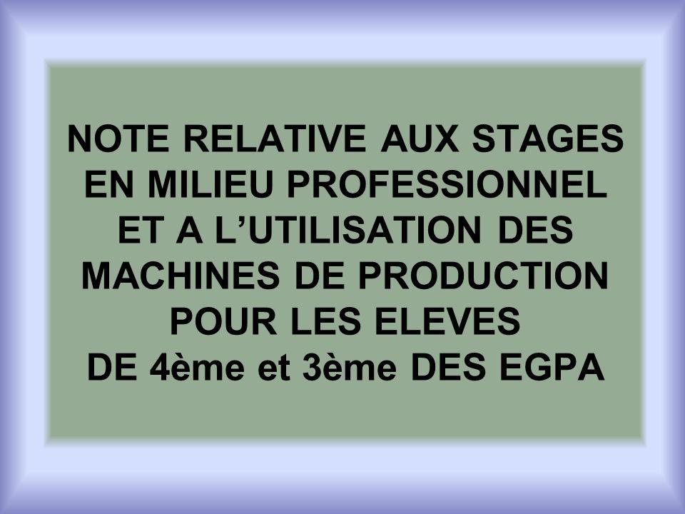 NOTE RELATIVE AUX STAGES EN MILIEU PROFESSIONNEL ET A LUTILISATION DES MACHINES DE PRODUCTION POUR LES ELEVES DE 4ème et 3ème DES EGPA