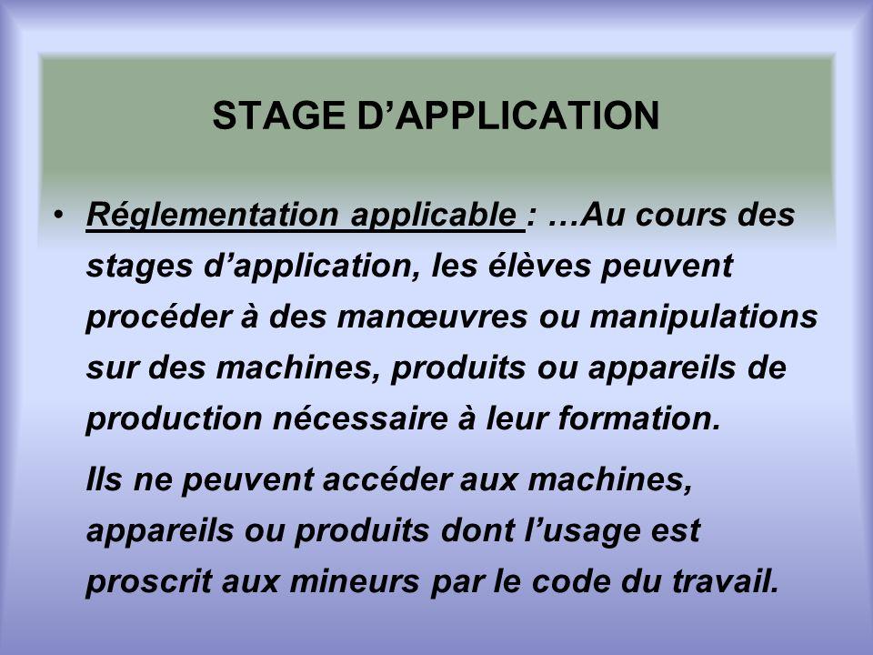 STAGE DAPPLICATION Réglementation applicable : …Au cours des stages dapplication, les élèves peuvent procéder à des manœuvres ou manipulations sur des machines, produits ou appareils de production nécessaire à leur formation.