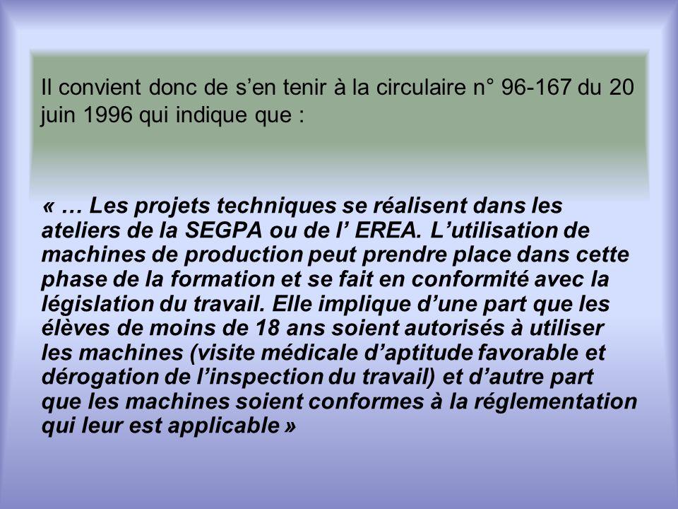Il convient donc de sen tenir à la circulaire n° 96-167 du 20 juin 1996 qui indique que : « … Les projets techniques se réalisent dans les ateliers de la SEGPA ou de l EREA.