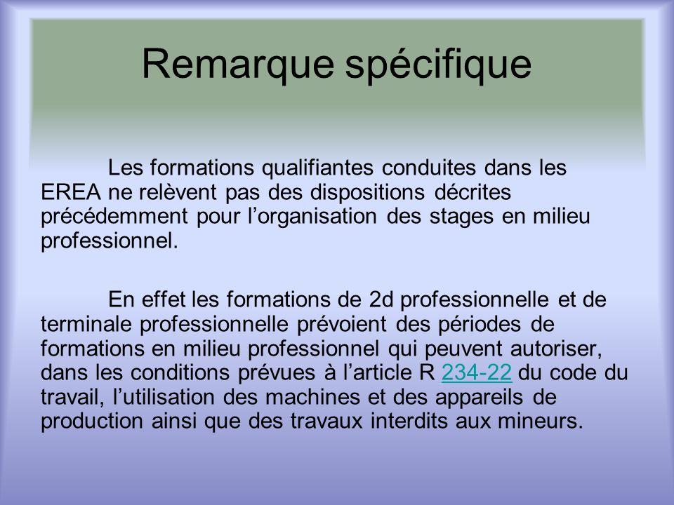 Remarque spécifique Les formations qualifiantes conduites dans les EREA ne relèvent pas des dispositions décrites précédemment pour lorganisation des stages en milieu professionnel.