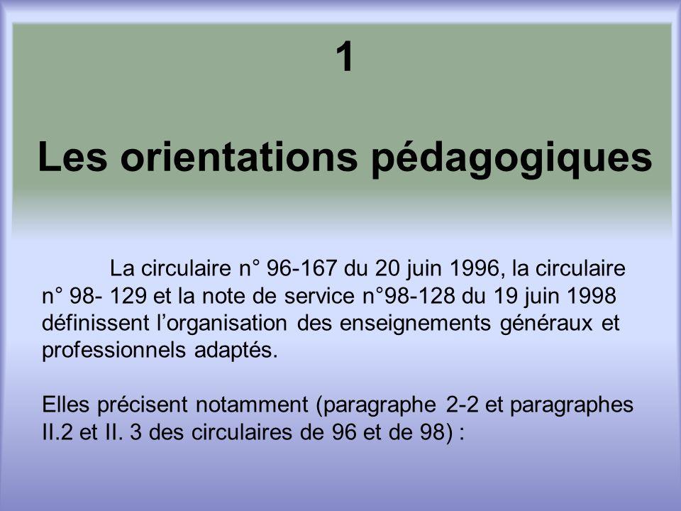 1 Les orientations pédagogiques La circulaire n° 96-167 du 20 juin 1996, la circulaire n° 98- 129 et la note de service n°98-128 du 19 juin 1998 définissent lorganisation des enseignements généraux et professionnels adaptés.