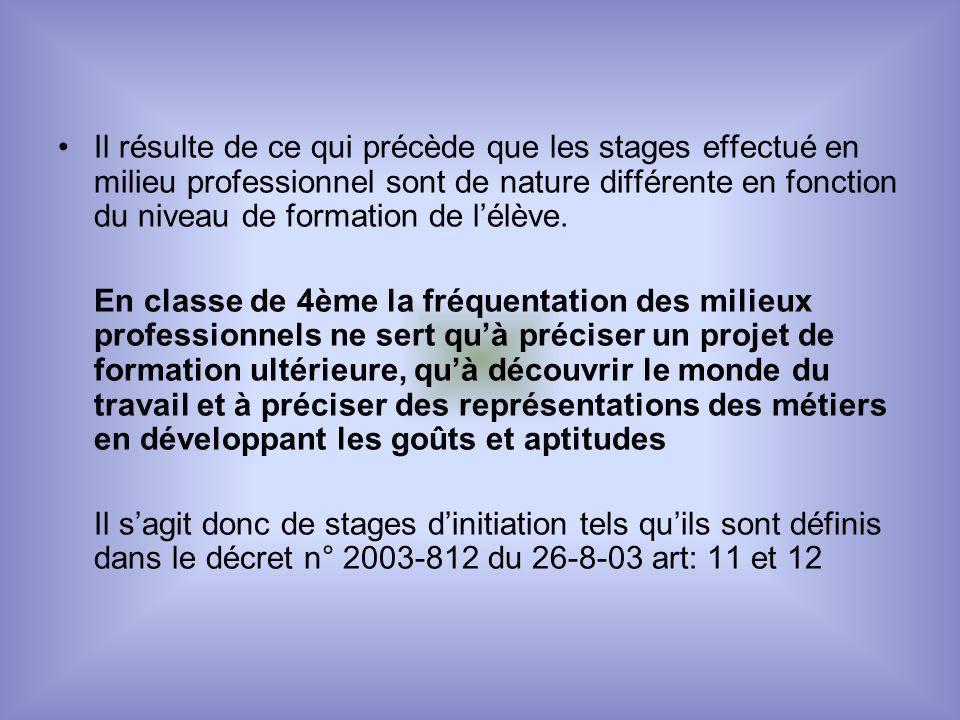 Il résulte de ce qui précède que les stages effectué en milieu professionnel sont de nature différente en fonction du niveau de formation de lélève.