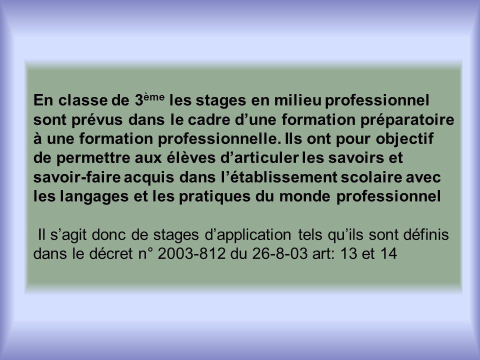 En classe de 3 ème les stages en milieu professionnel sont prévus dans le cadre dune formation préparatoire à une formation professionnelle.