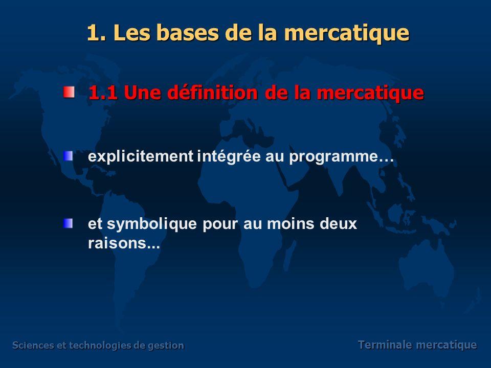 Sciences et technologies de gestion Terminale mercatique explicitement intégrée au programme… et symbolique pour au moins deux raisons...