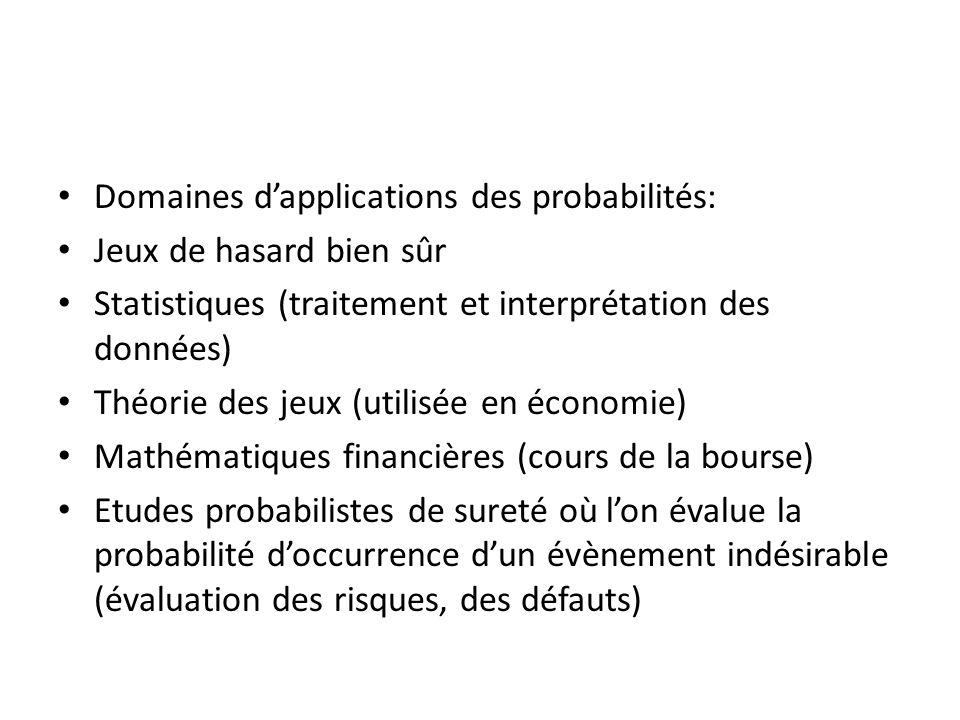 Domaines dapplications des probabilités: Jeux de hasard bien sûr Statistiques (traitement et interprétation des données) Théorie des jeux (utilisée en