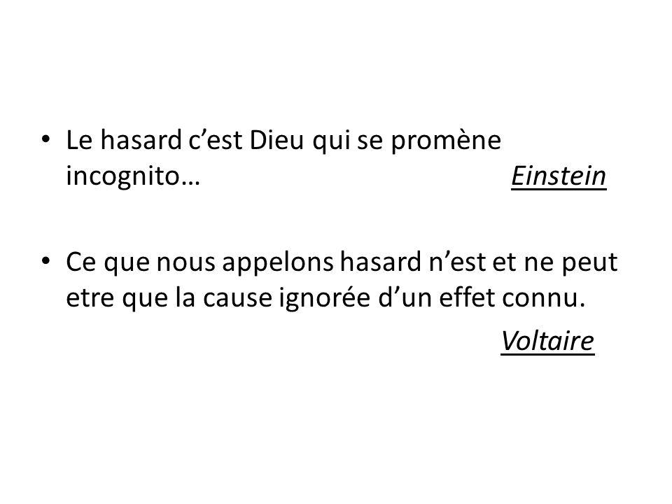 Le hasard cest Dieu qui se promène incognito… Einstein Ce que nous appelons hasard nest et ne peut etre que la cause ignorée dun effet connu. Voltaire