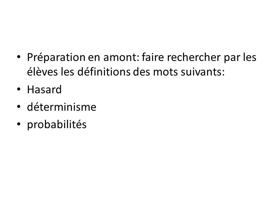 Préparation en amont: faire rechercher par les élèves les définitions des mots suivants: Hasard déterminisme probabilités