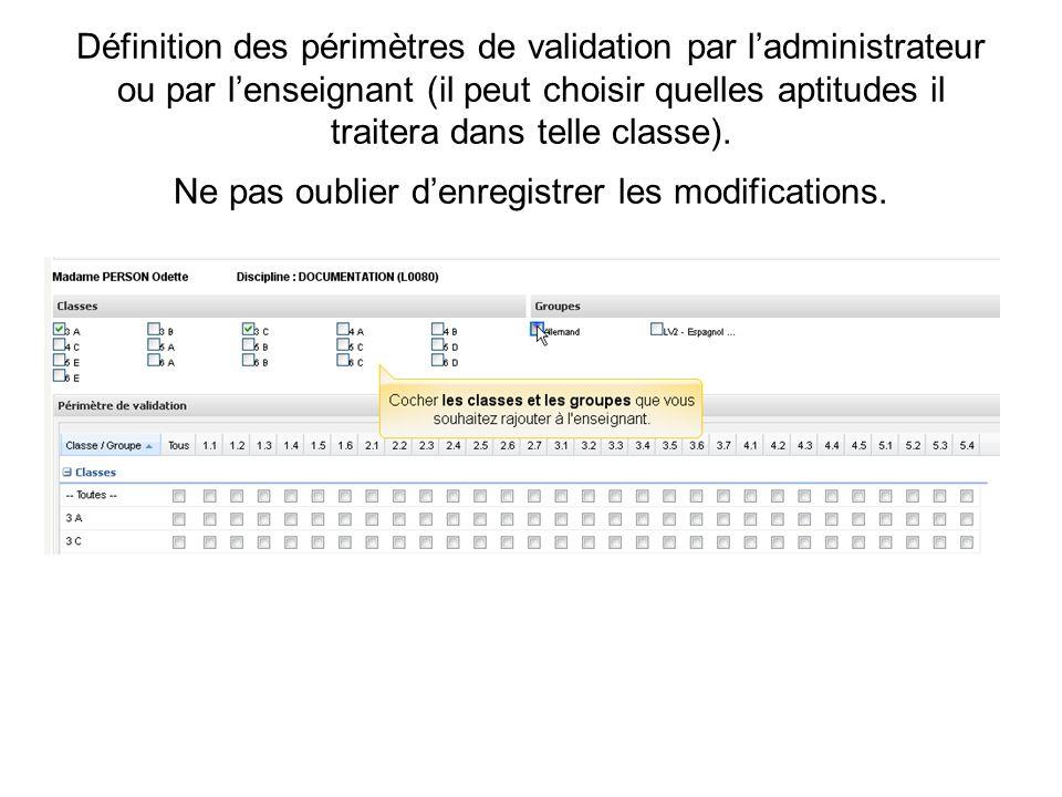 Définition des périmètres de validation par ladministrateur ou par lenseignant (il peut choisir quelles aptitudes il traitera dans telle classe). Ne p