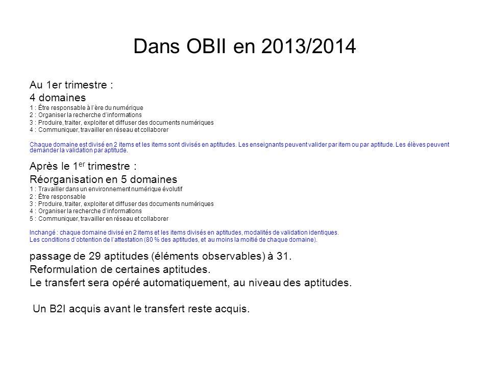 Dans OBII en 2013/2014 Au 1er trimestre : 4 domaines 1 : Être responsable à lère du numérique 2 : Organiser la recherche dinformations 3 : Produire, t