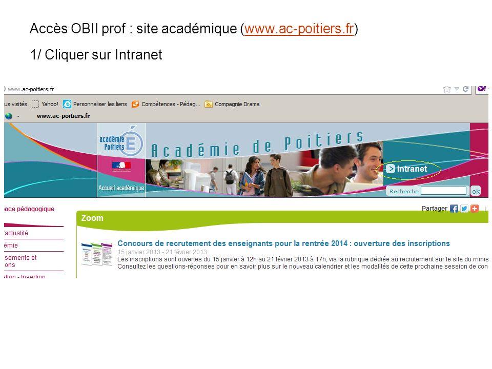 Accès OBII prof : site académique (www.ac-poitiers.fr)www.ac-poitiers.fr 1/ Cliquer sur Intranet