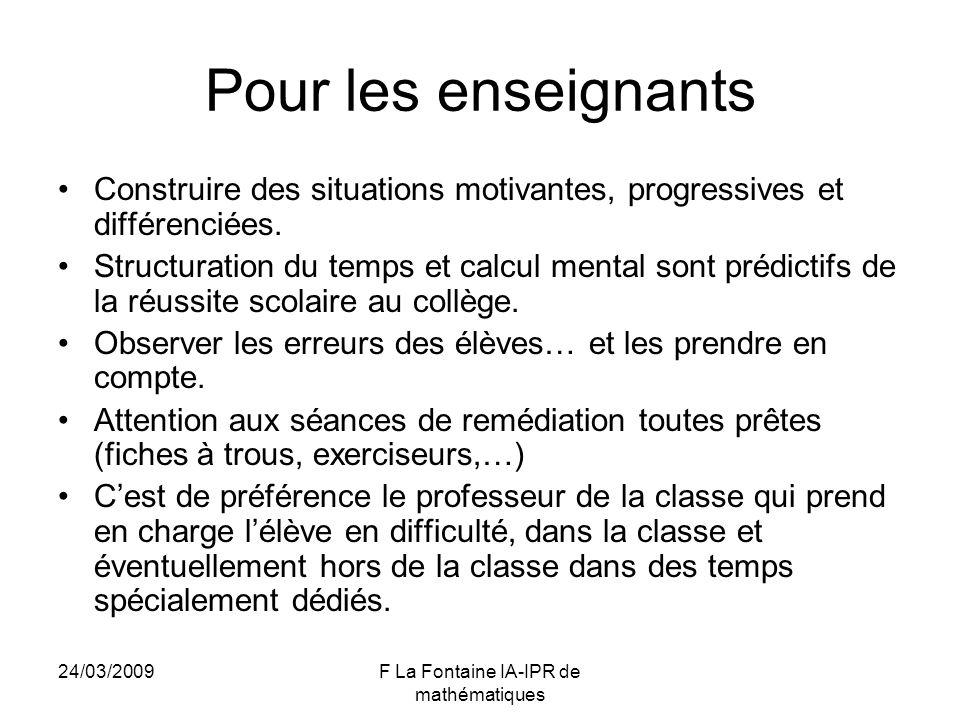 24/03/2009F La Fontaine IA-IPR de mathématiques Pour les enseignants Construire des situations motivantes, progressives et différenciées. Structuratio