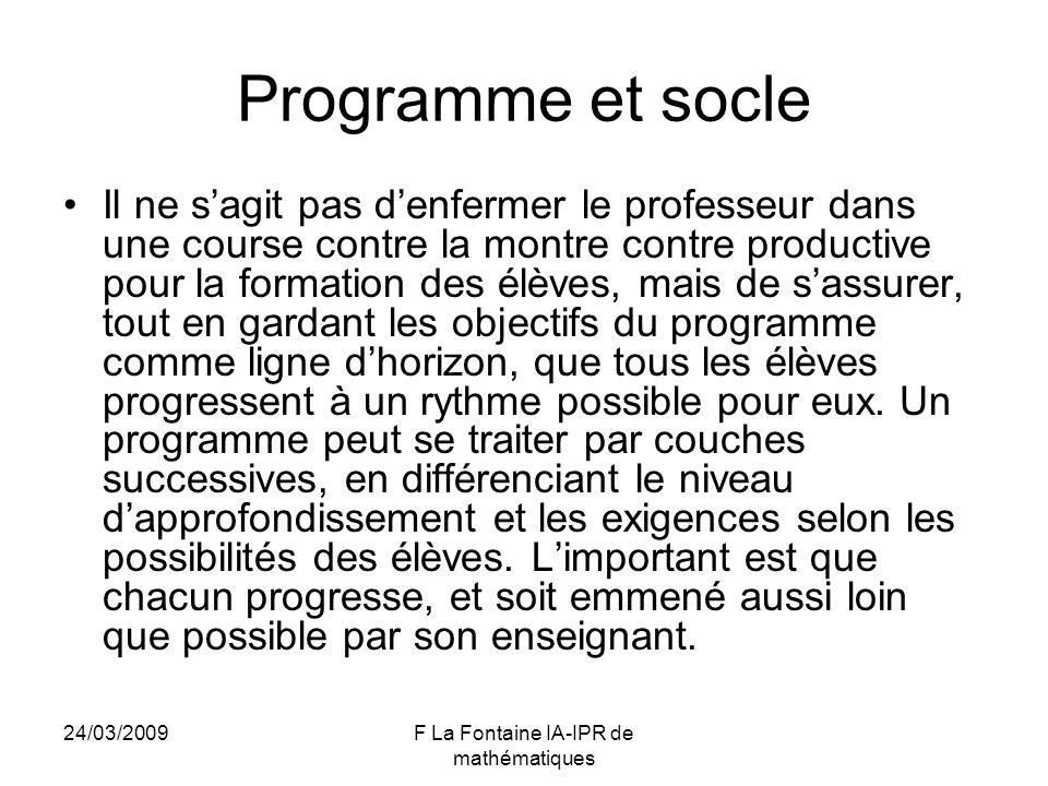 24/03/2009F La Fontaine IA-IPR de mathématiques Programme et socle Il ne sagit pas denfermer le professeur dans une course contre la montre contre pro