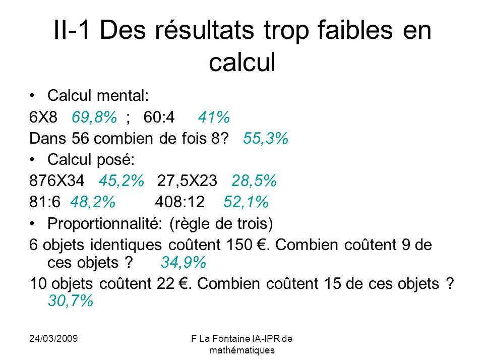 24/03/2009F La Fontaine IA-IPR de mathématiques II-1 Des résultats trop faibles en calcul Calcul mental: 6X8 69,8% ; 60:4 41% Dans 56 combien de fois