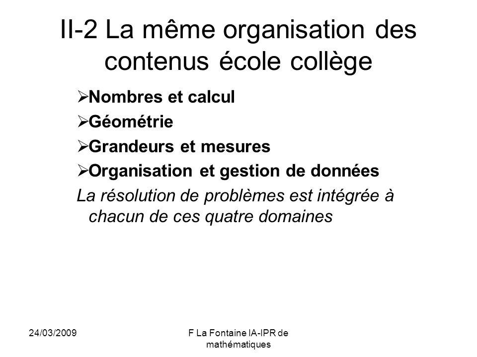 24/03/2009F La Fontaine IA-IPR de mathématiques II-2 La même organisation des contenus école collège Nombres et calcul Géométrie Grandeurs et mesures