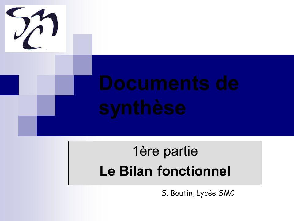Documents de synthèse 1ère partie Le Bilan fonctionnel S. Boutin, Lycée SMC