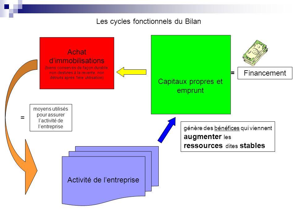 Les cycles fonctionnels du Bilan Capitaux propres et emprunt Financement = Achat dimmobilisations (biens conservés de façon durable, non destinés à la