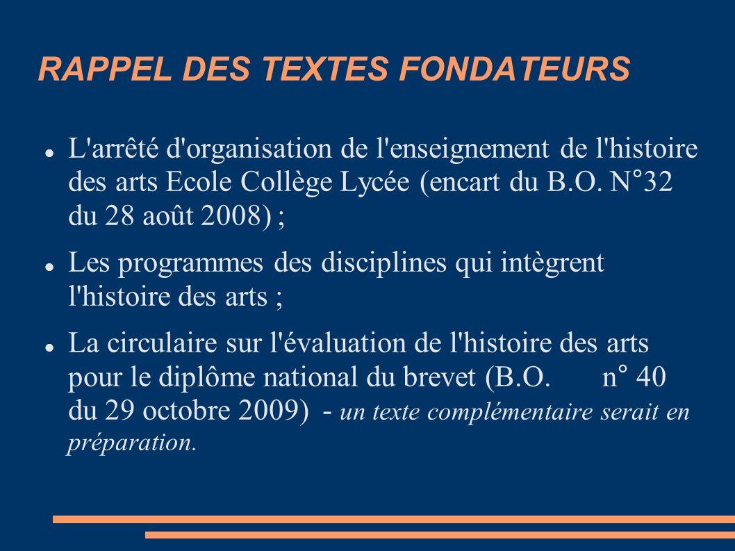 RAPPEL DES TEXTES FONDATEURS L arrêté d organisation de l enseignement de l histoire des arts Ecole Collège Lycée (encart du B.O.