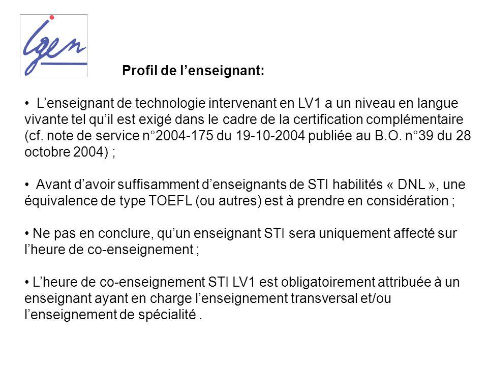 Profil de lenseignant: Lenseignant de technologie intervenant en LV1 a un niveau en langue vivante tel quil est exigé dans le cadre de la certificatio