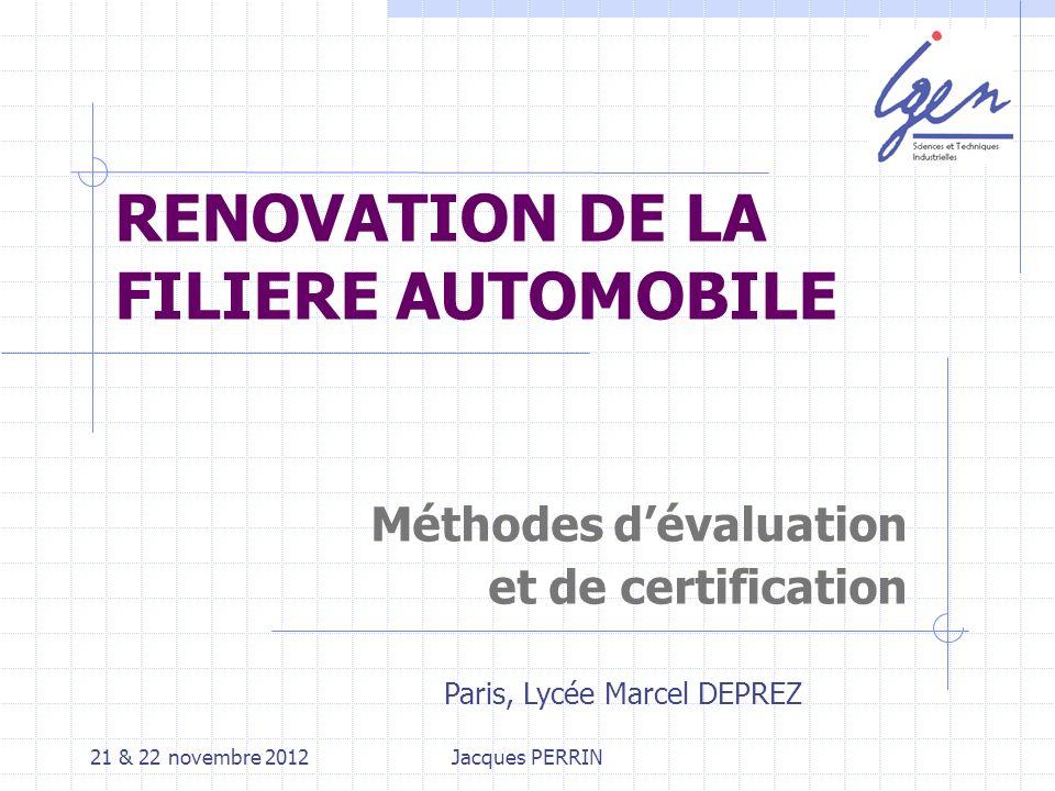 21 & 22 novembre 2012 Jacques PERRIN - IGEN Compétence : Ensemble de savoirs, savoir-faire et comportements organisés en vue d accomplir de façon adaptée une activité.