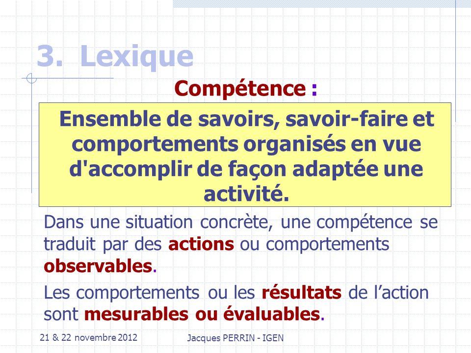 21 & 22 novembre 2012 Jacques PERRIN - IGEN 3.Lexique Pour être sur de parler tous de la même chose