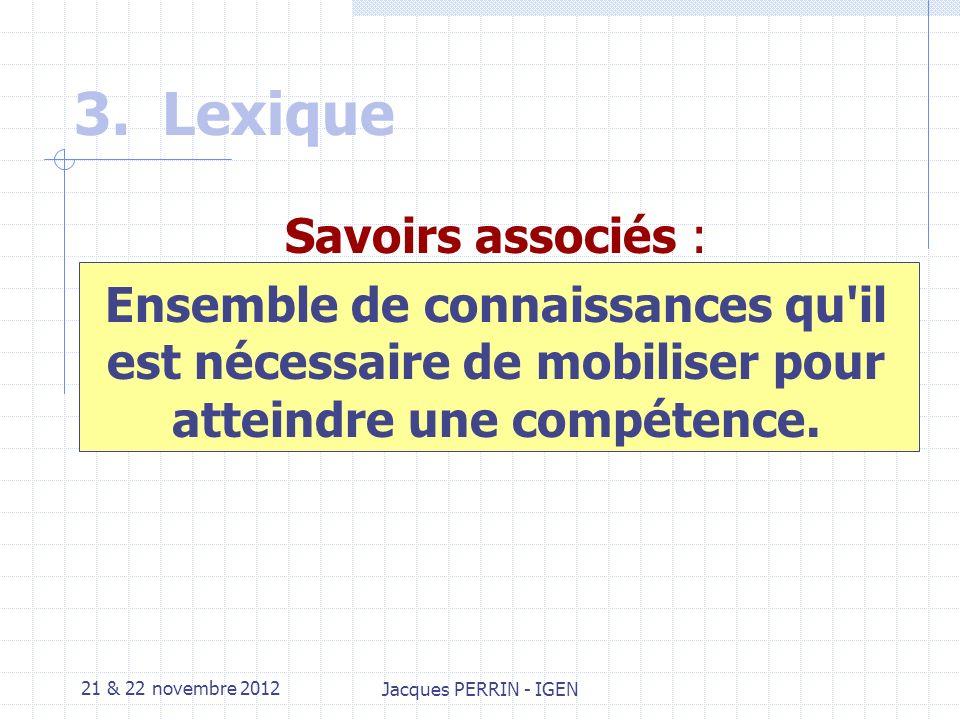 21 & 22 novembre 2012 Jacques PERRIN - IGEN 3.Lexique Savoir-faire Habileté manifestée dans une situation définie.