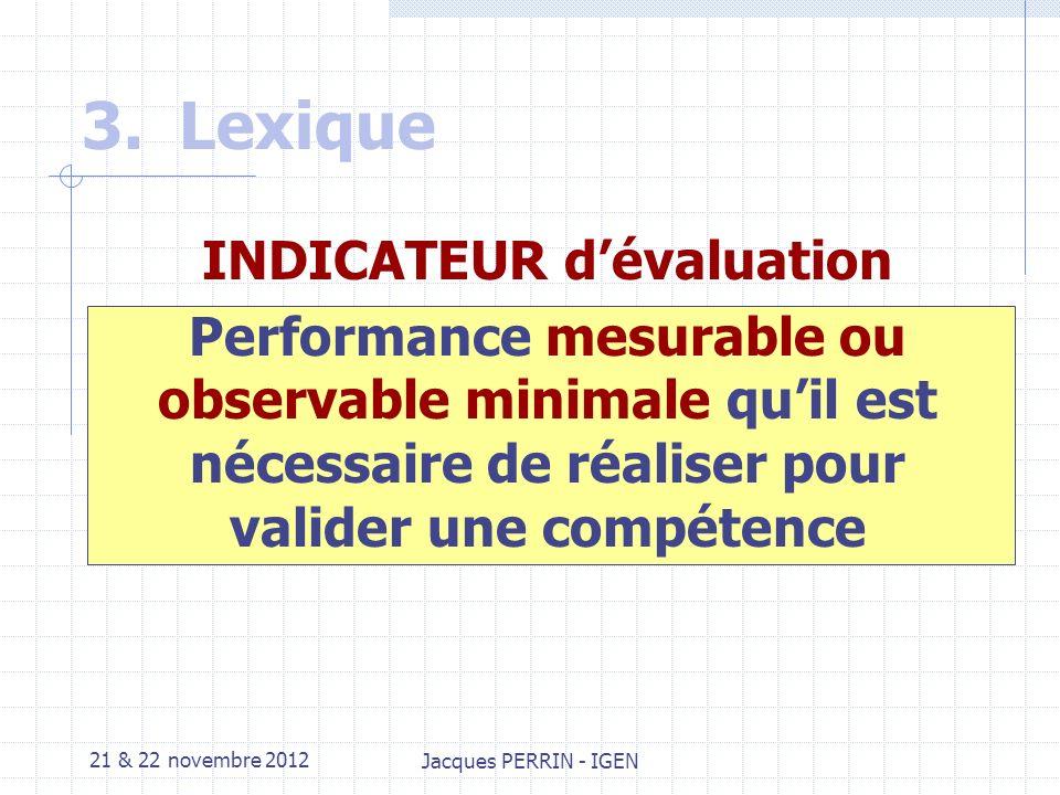 21 & 22 novembre 2012 Jacques PERRIN - IGEN 3.Lexique Critère dévaluation Classe de performance attendue dans lexpression dune compétence