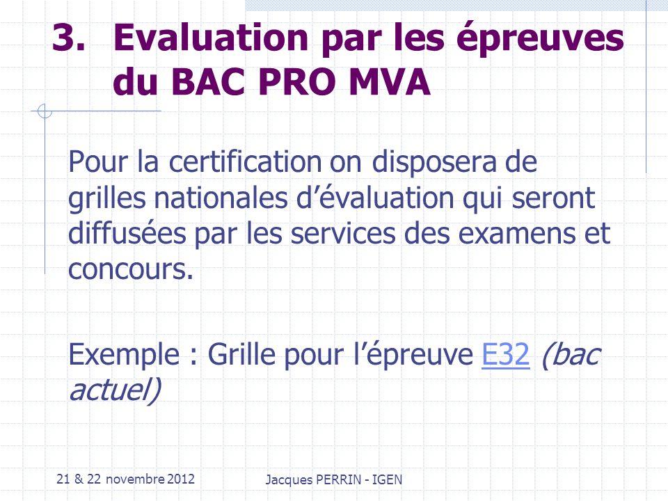 21 & 22 novembre 2012 Jacques PERRIN - IGEN 3.Lexique INDICATEUR dévaluation Performance mesurable ou observable minimale quil est nécessaire de réaliser pour valider une compétence