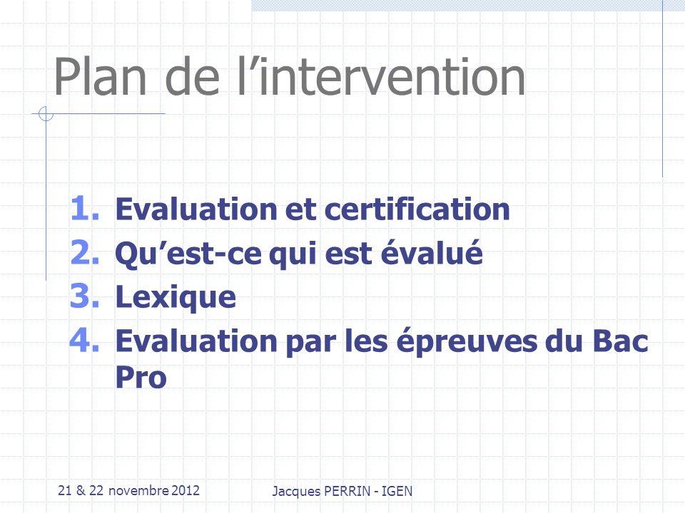 21 & 22 novembre 2012 Jacques PERRIN - IGEN 3.Lexique Capacité Ensemble d aptitudes que l individu met en œuvre dans différentes situations.