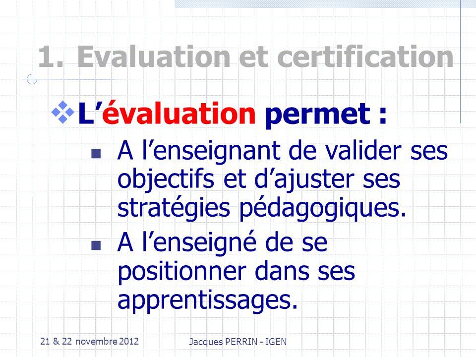 21 & 22 novembre 2012 Jacques PERRIN - IGEN 1.Evaluation et certification Quelles différences entre lévaluation et la certification