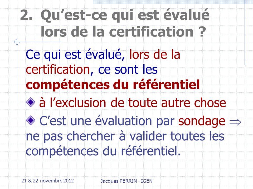 21 & 22 novembre 2012 Jacques PERRIN - IGEN 1.Evaluation et certification La certification est une validation institutionnelle des résultats dapprentissages.