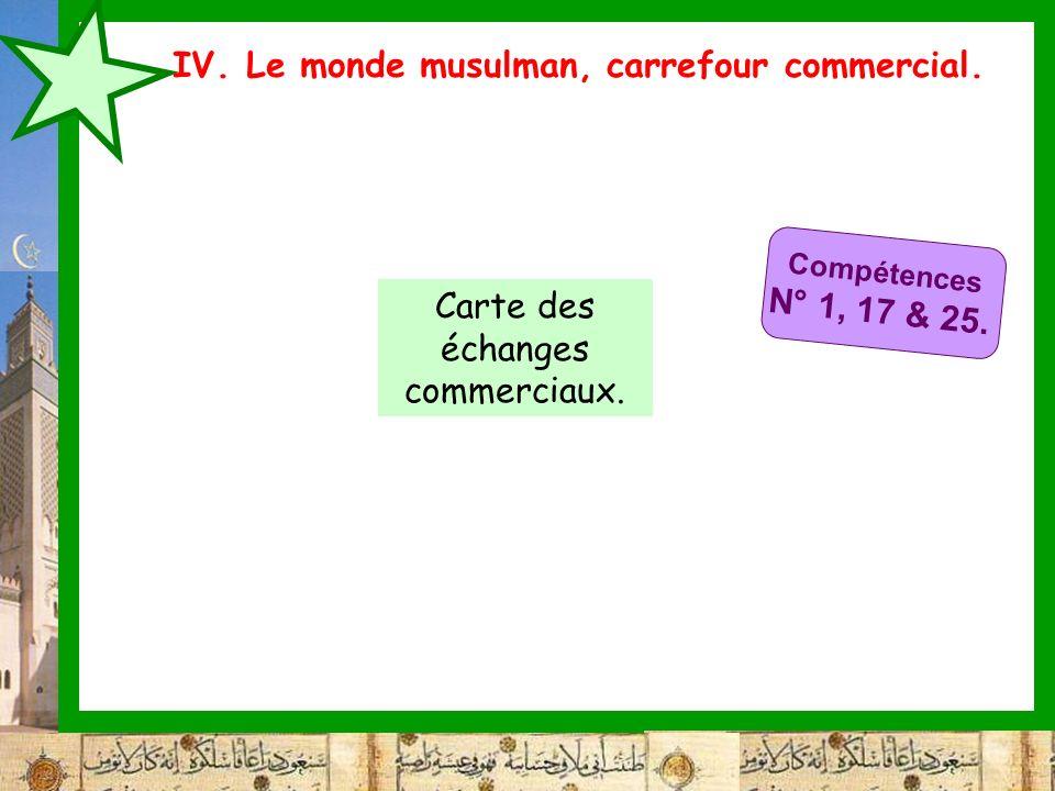 IV. Le monde musulman, carrefour commercial. Compétences N° 1, 17 & 25. Carte des échanges commerciaux.