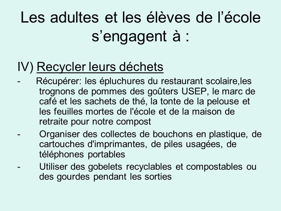 Les adultes et les élèves de lécole sengagent à : IV) Recycler leurs déchets - Récupérer: les épluchures du restaurant scolaire,les trognons de pommes