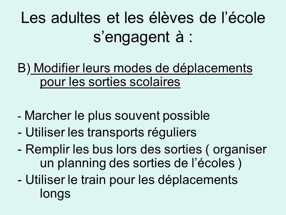 Les adultes et les élèves de lécole sengagent à : B) Modifier leurs modes de déplacements pour les sorties scolaires - Marcher le plus souvent possibl