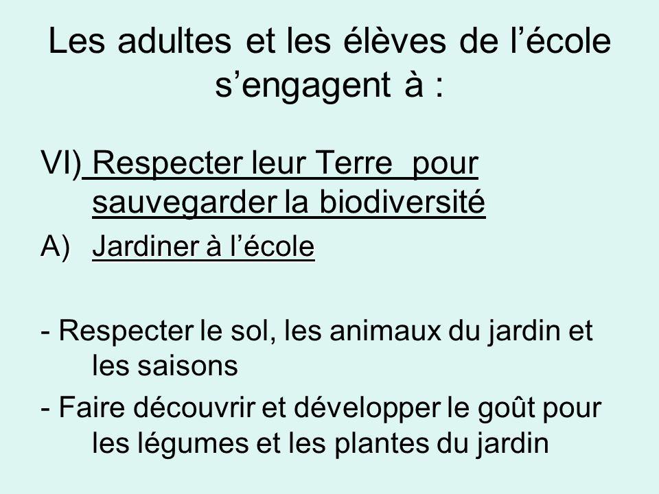 Les adultes et les élèves de lécole sengagent à : VI) Respecter leur Terre pour sauvegarder la biodiversité A)Jardiner à lécole - Respecter le sol, les animaux du jardin et les saisons - Faire découvrir et développer le goût pour les légumes et les plantes du jardin