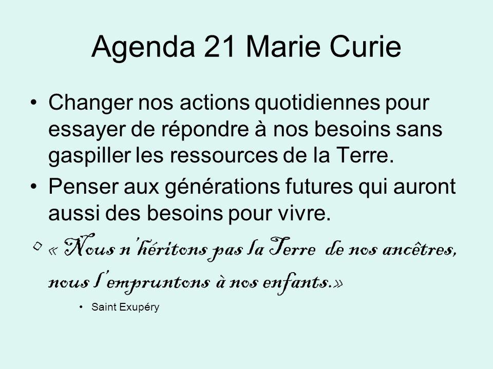 Agenda 21 Marie Curie Changer nos actions quotidiennes pour essayer de répondre à nos besoins sans gaspiller les ressources de la Terre. Penser aux gé