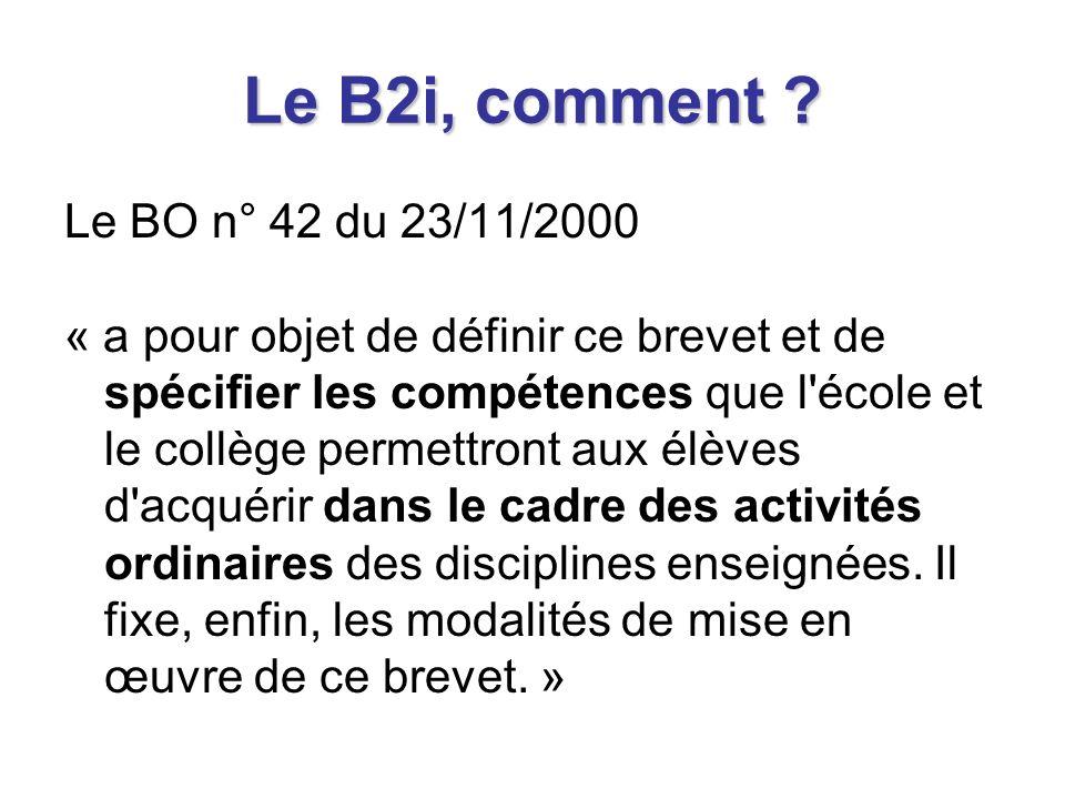 Le B2i, quelles compétences .